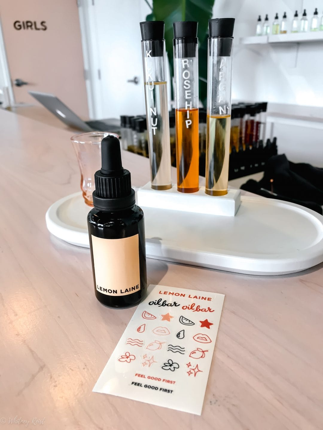 A custom facial oil being made at the Lemon Laine Oil Bar in Nashville, TN.