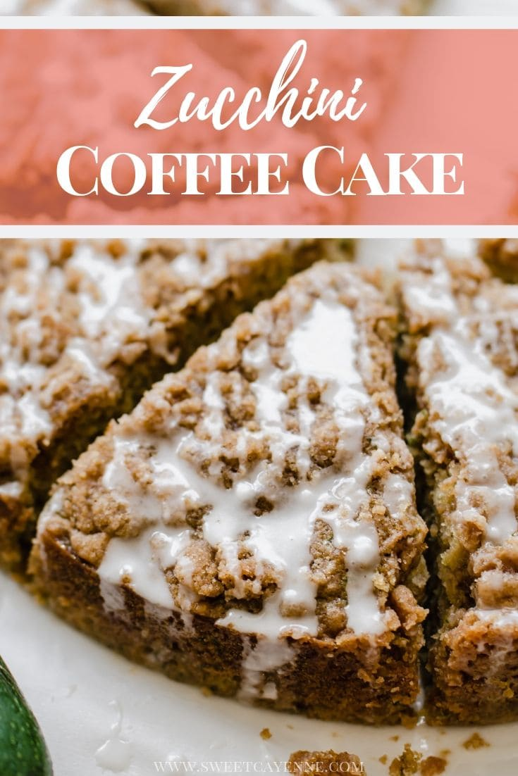 A close up shot of a sliced zucchini coffee cake to show the texture of the crumb topping.