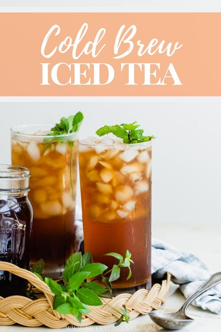 A Pinterest hero image with text overlay for cold brew iced tea.