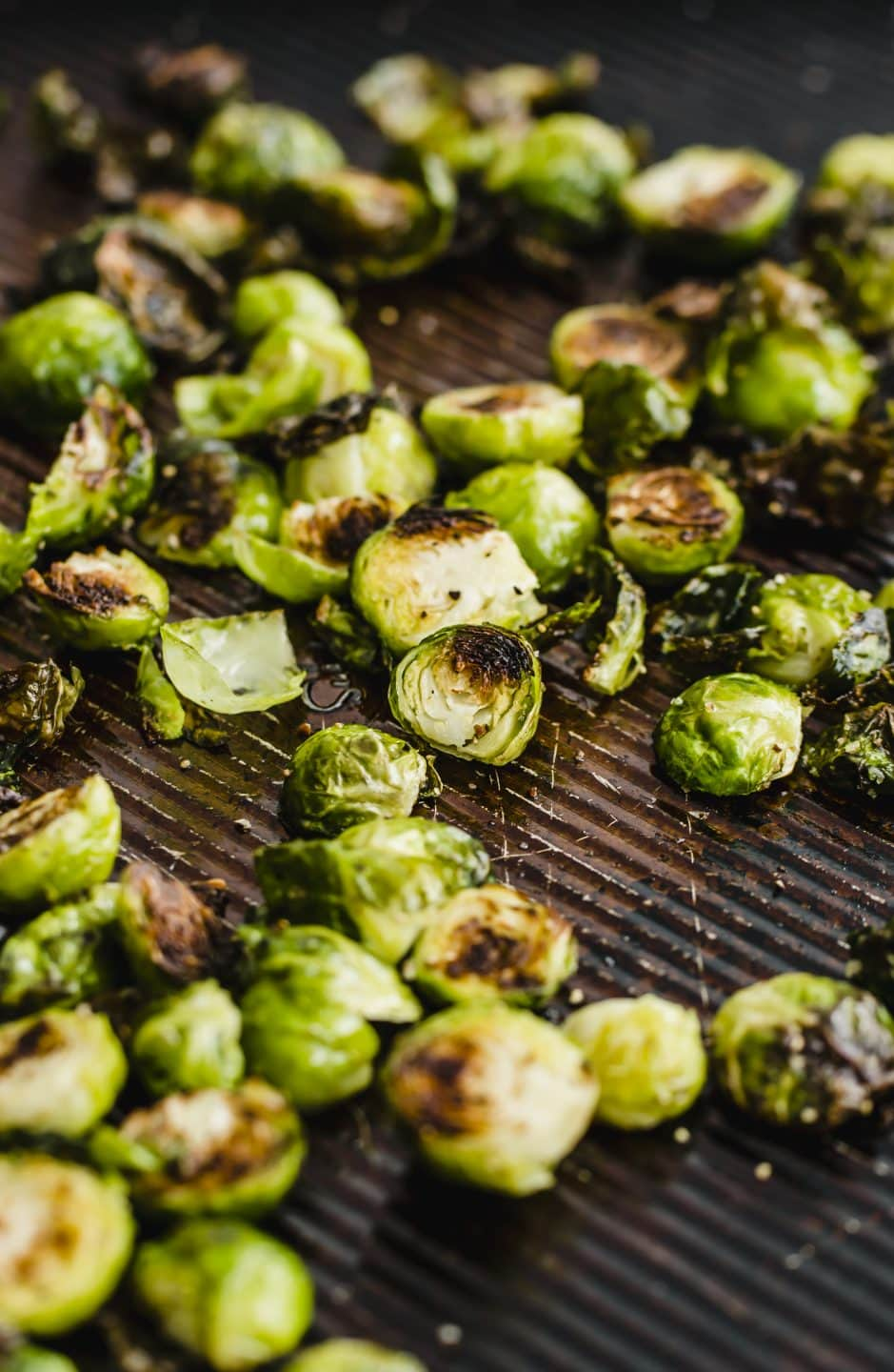 Roasted Brussels Sprouts on a sheet pan.