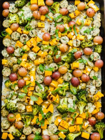 A sheet pan full of roasted vegetables.