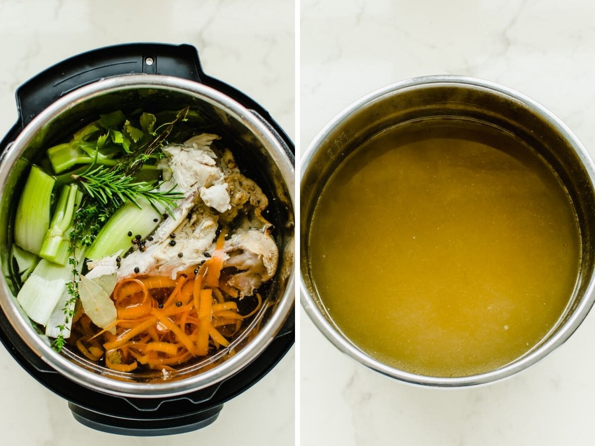 An Instant Pot filled with vegetable trimmings and a bowl of stock on the side.