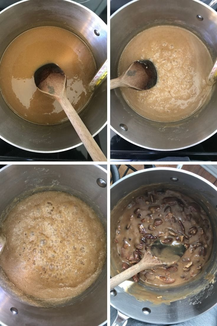 Overhead shot collage of the process of boiling pecan praline candy.