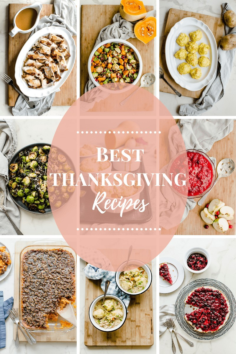 A collage of images for a Thanksgiving recipe collection.