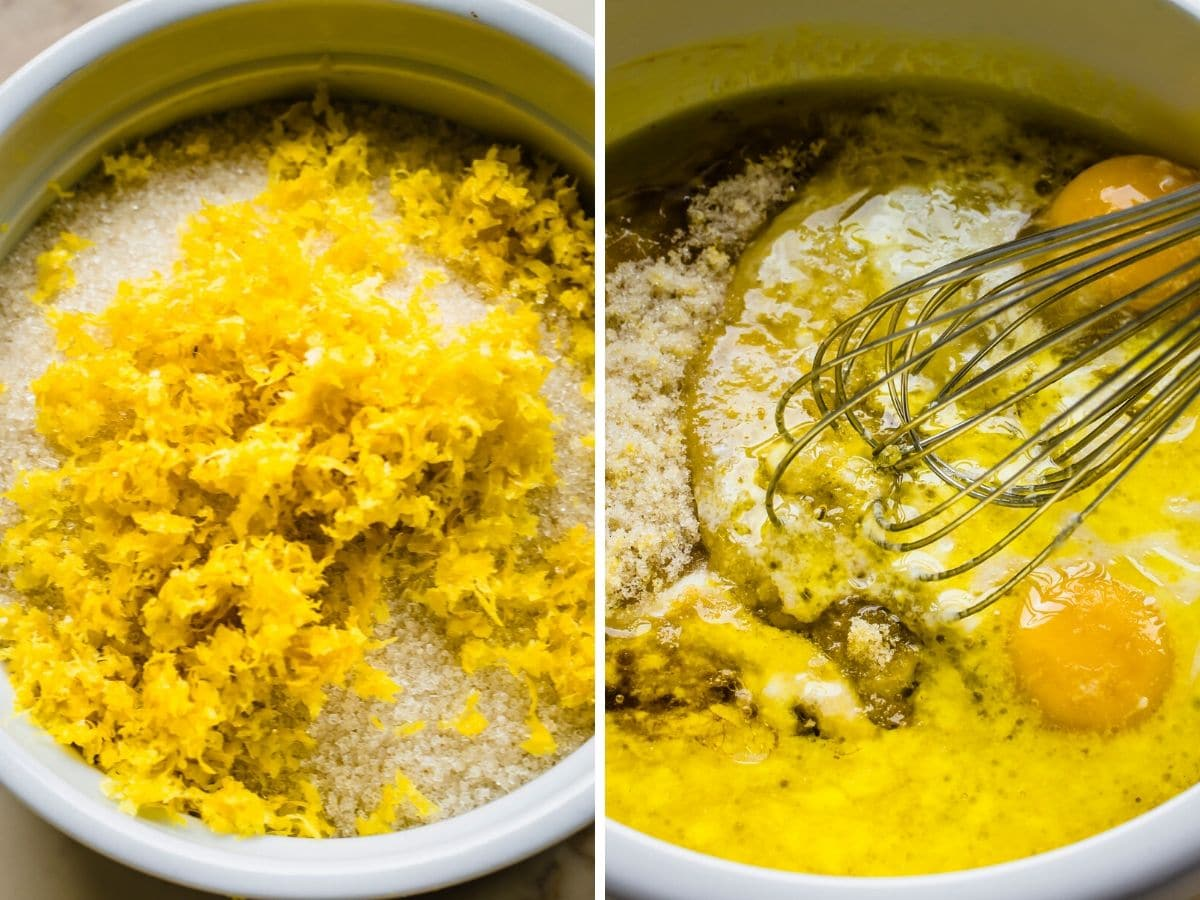 Two side by side shots of lemon poppyseed muffins being mixed.