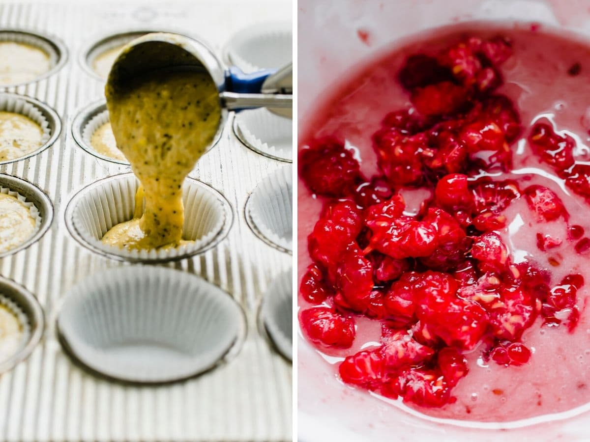 A shot of muffin batter being scooped into the pan and a bowl of raspberry glaze.