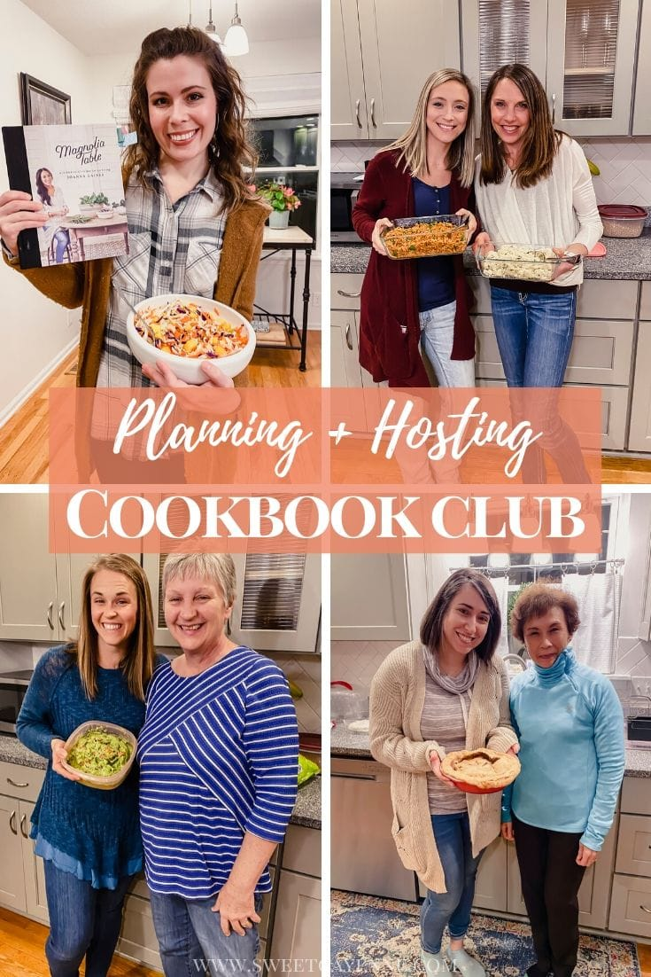 A collage of girls holding dishes they have made for a cookbook club