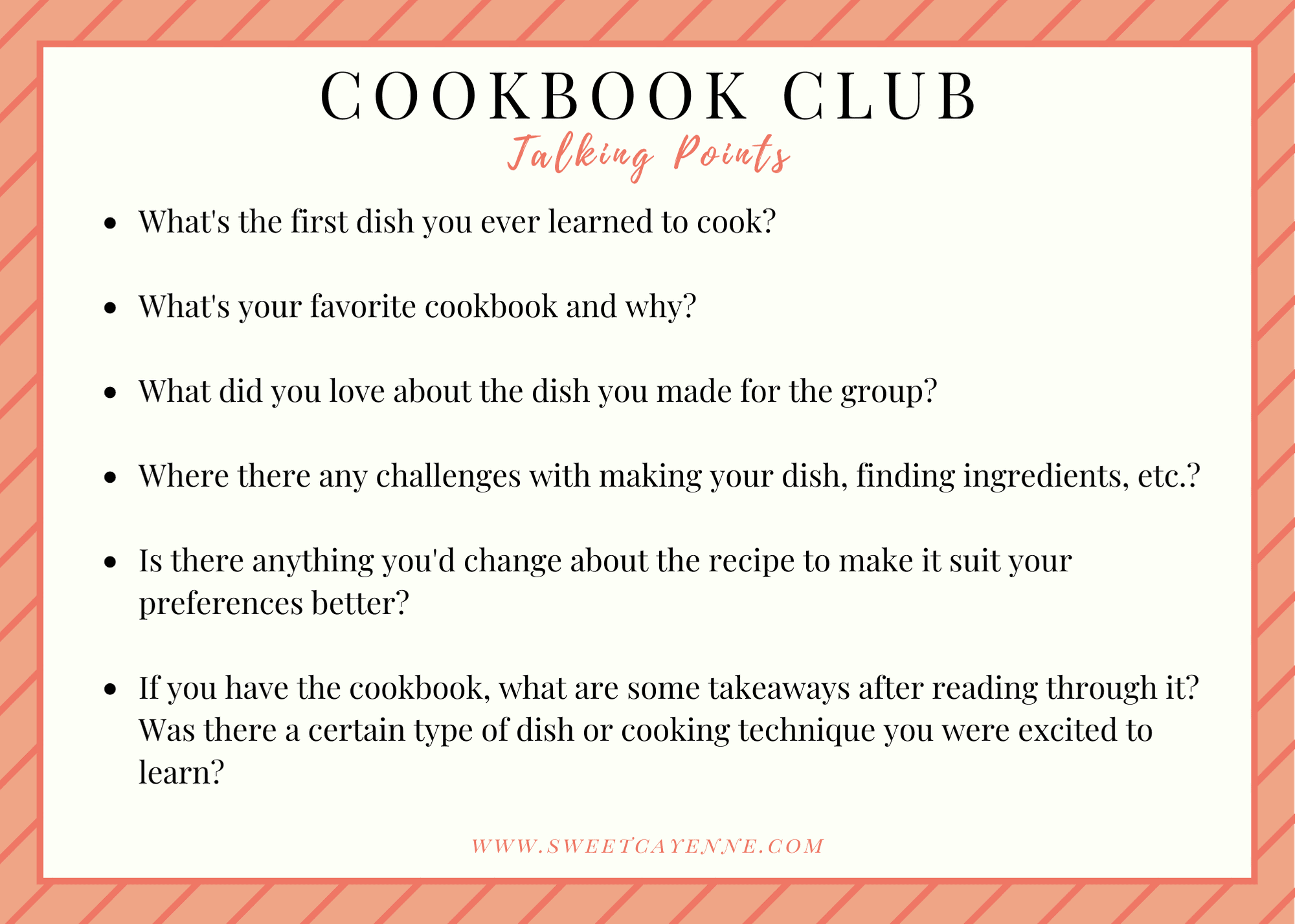 Cookbook club talking points card