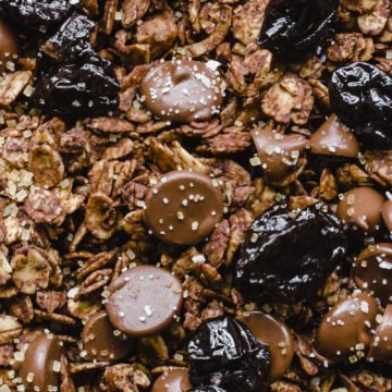 A close up shot of double chocolate cherry granola to show texture.