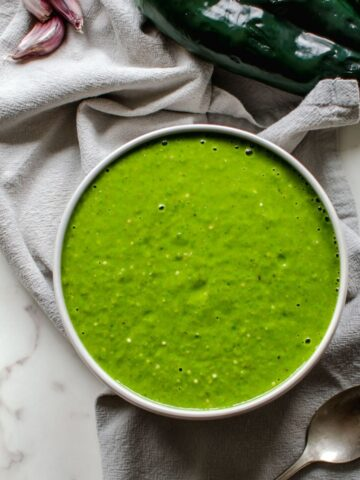 Overhead picture of green roasted Poblano enchilada sauce.