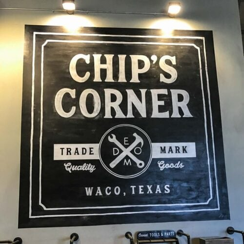 "Picture of a sign in Magnolia market - ""Chip's Corner""."