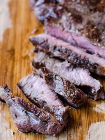 Sous vide cooked steak, sliced into strips.