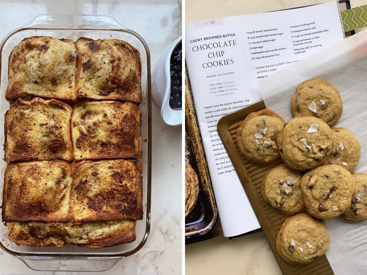 A collage of images with overnight French toast on white counter and a pan of chocolate chip cookies.
