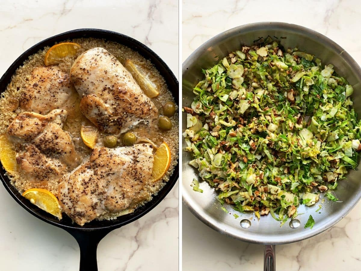 A pan of wine braised chicken with orzo and skillet of cacio e pepe brussels sprouts on a white counter.