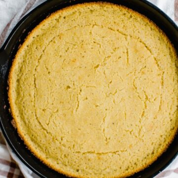 Cast iron pan with cornbread.