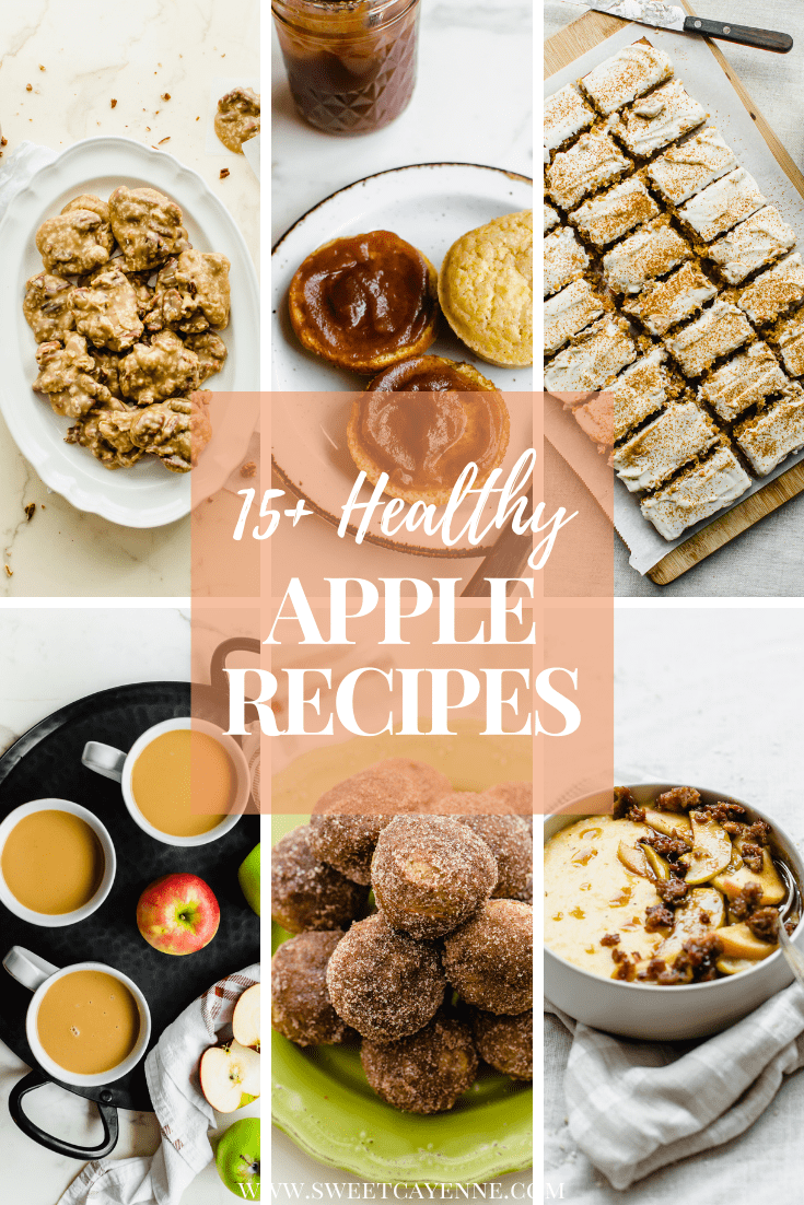A collage of six images of apple recipes in a recipe collection.