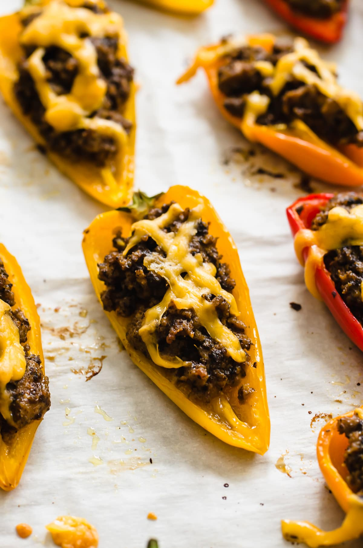 A close up shot of a bell pepper nacho.