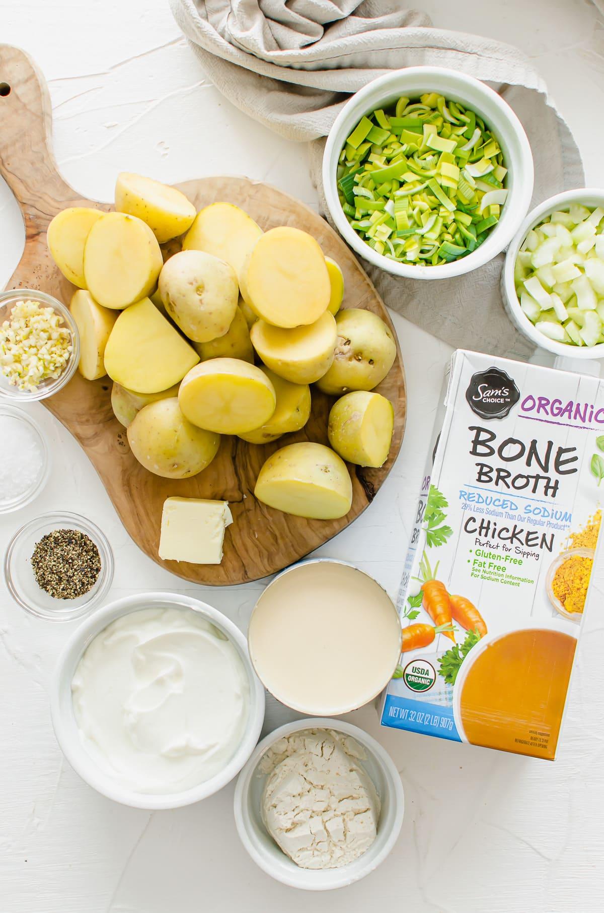 Measured ingredients for slow cooker potato leek soup.